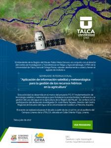 Invitación Seminario Internacional: Aplicación de la información satelital y meteorólogica para la gestión de los recursos hídricos en la agricultura